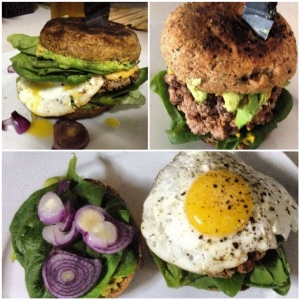 homemade fried egg burger